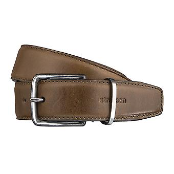 Strellson belts men's belts leather leather belt olive to 3196