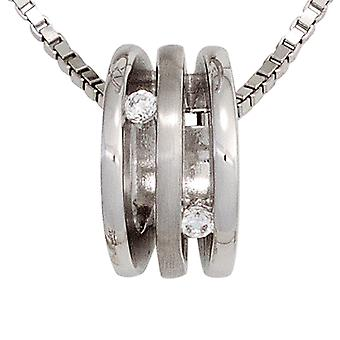 Chain pendant 925 rhodium plated sterling silver 2 cubic zirconia partly frosted