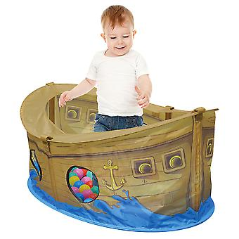 Charles Bentley Kid's Pirate Boat Ball Pit Play Tent with 50 Multi-Coloured Balls - Pirate Boat Design Indoor / Outdoor Use