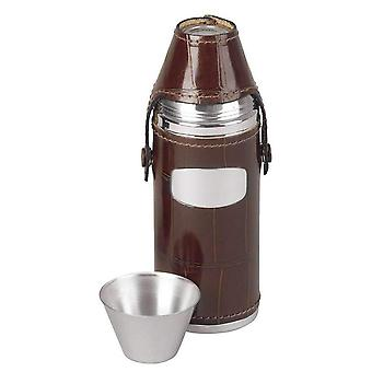 Orton West 8oz 4 Cup Hunting Flask - Brown/Silver