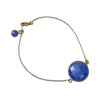 Gemshine Damen Armband Vergoldet Saphir Blau Facettiert 19 cm