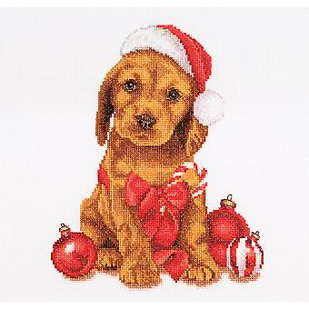 Christmas Puppy On Aida Counted Cross Stitch Kit-12.25
