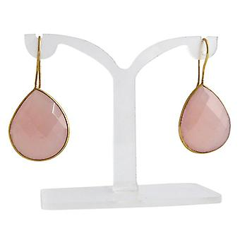 Rosé Onyx earrings pink Onyx gold earrings gold plated