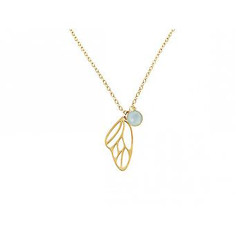 Chain 45 cm - silver - gold - plated butterfly wings - chalcedony - sea green
