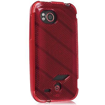 Verizon High Gloss Silicone TPU Gel Skin Case For HTC Rezound 6425 (Red Stripe P