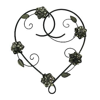 Metall hjärta och blommor Dekorativa väggskulptur
