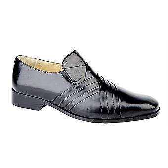Mens Leather Upper Leather Sole Slip On Cross Pleated Tab Front Formal Dress Shoes