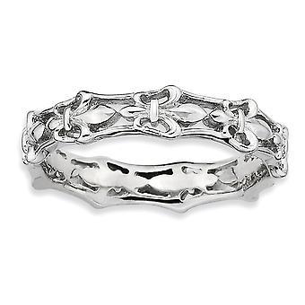 Sterling Zilver patroon Rhodium-plated gepolijst Fleur De Lis stapelbare Ring - Ringmaat: 5 tot 10