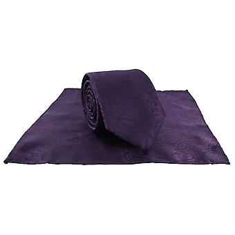 Michelsons of London Tonal Polyester Paisley Pocket Square and Tie Set - Purple