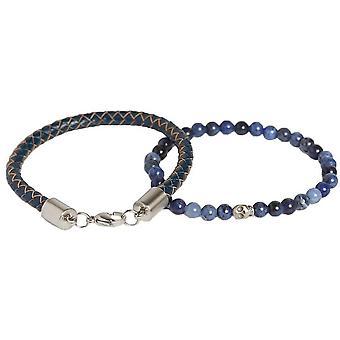 Simon Carter Skull Sodalite and Braided Bracelet Set - Blue/Navy