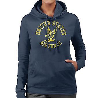 US Airforce Eagle Yellow Text Women's Hooded Sweatshirt