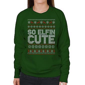 So Elfin Cute Christmas Knit Pattern Women's Sweatshirt