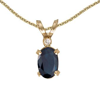 14k Yellow Gold Oval Sapphire And Diamond Filagree Pendant with 18