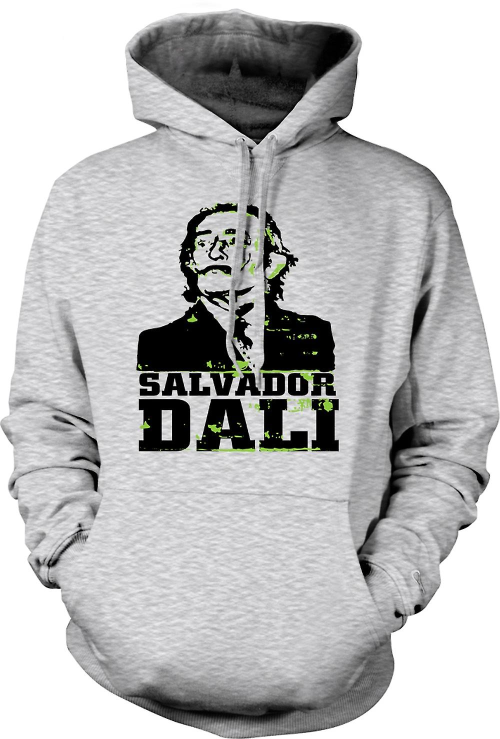 Mens Hoodie - Salvador Dali Portrait - Surreal Art