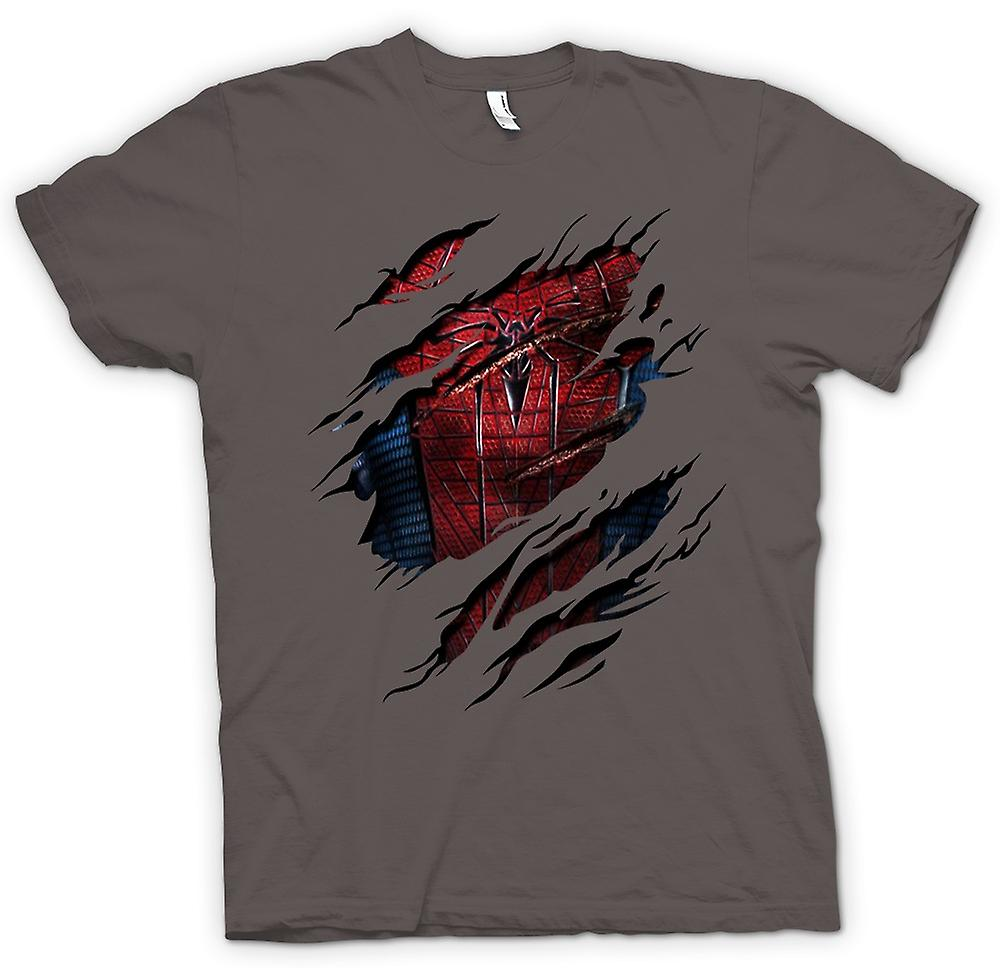 Mens T-shirt - New Spiderman Costume - Superhero Ripped Design