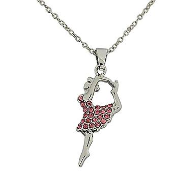 The Olivia Collection Pink Glass Ballerina Pendant 16