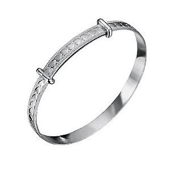 Jo For Girls Sterling Silver Heart Expanding Baby Bangle Bracelet