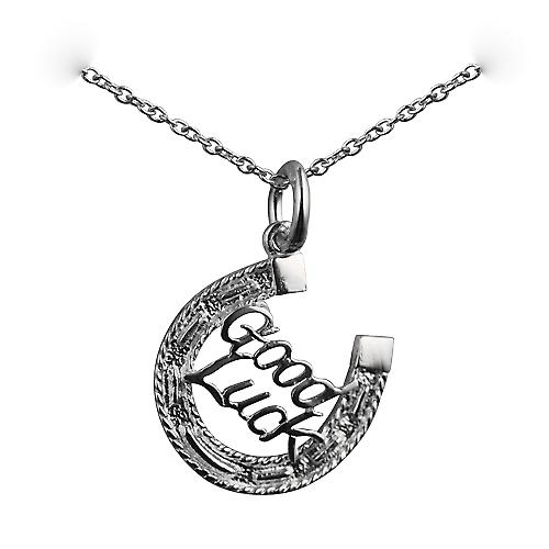 Silver 16x16mm solid Horseshoe with Good Luck Pendant with a rolo Chain 16 inches Only Suitable for Children