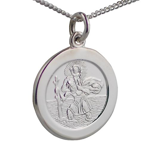 Silver 21mm round St Christopher with Curb chain