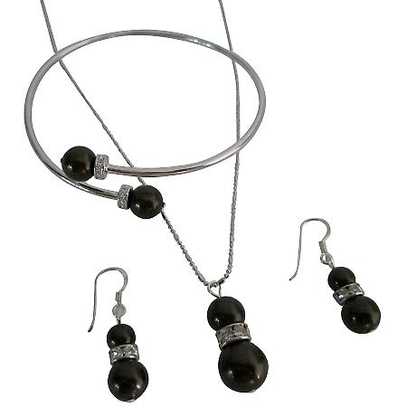 Deep Brown Pearls with Rhinestones Rings Spacer Shimmering Jewelry
