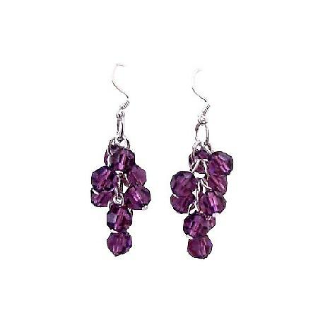 Grape Bunch Round Crystal Beads Amethyst Round Silver 92.5 Earrings
