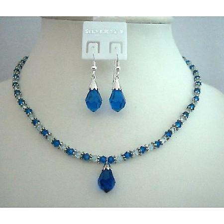 Handcrafted Custom Jewelry Swarovski Capri Blue Crystals Necklace Set