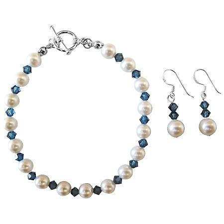 Fashionable Prom Swarovski Montana Blue Crystals White Pearls Jewelry