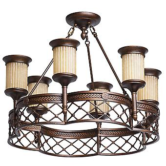 Glasberg  -  Brown Six Light Semi-Flush Ceiling Light With Ribbed Glass Shades  382010206