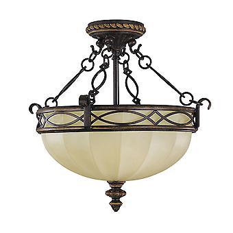 Walnoten salon twee lichte Semi Flush meubilair - Elstead verlichting Fe / Drawingrm / FE/DRAWINGRM/SFC