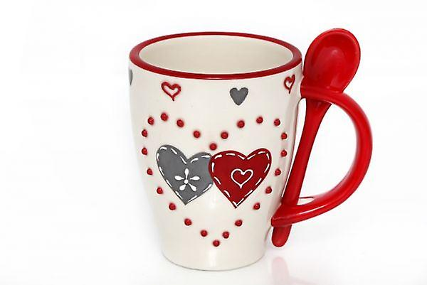 Double Mugamp; Spoon Red 5x8 12 5cm Heart Ceramic VSUpLGqzM