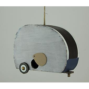 Red White and Blue Wood USA Retro Camper Birdhouse