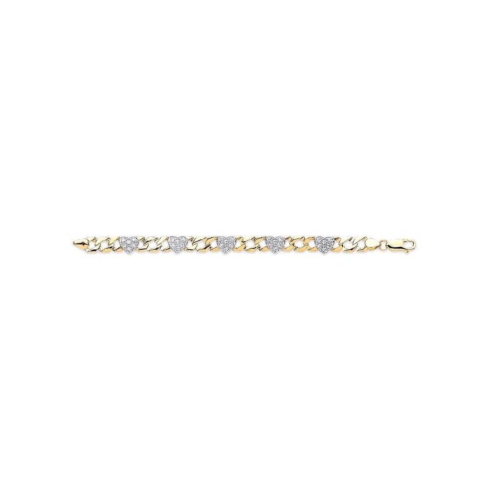 Eternity 9ct Gold Baby/Kids Cubic Zirconia Hearts Curb Bracelet