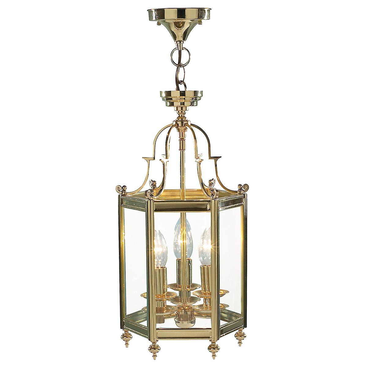 Dar MOO0340 Moorgate Hexagonal Hall Lantern Dual Mount Polished Brass