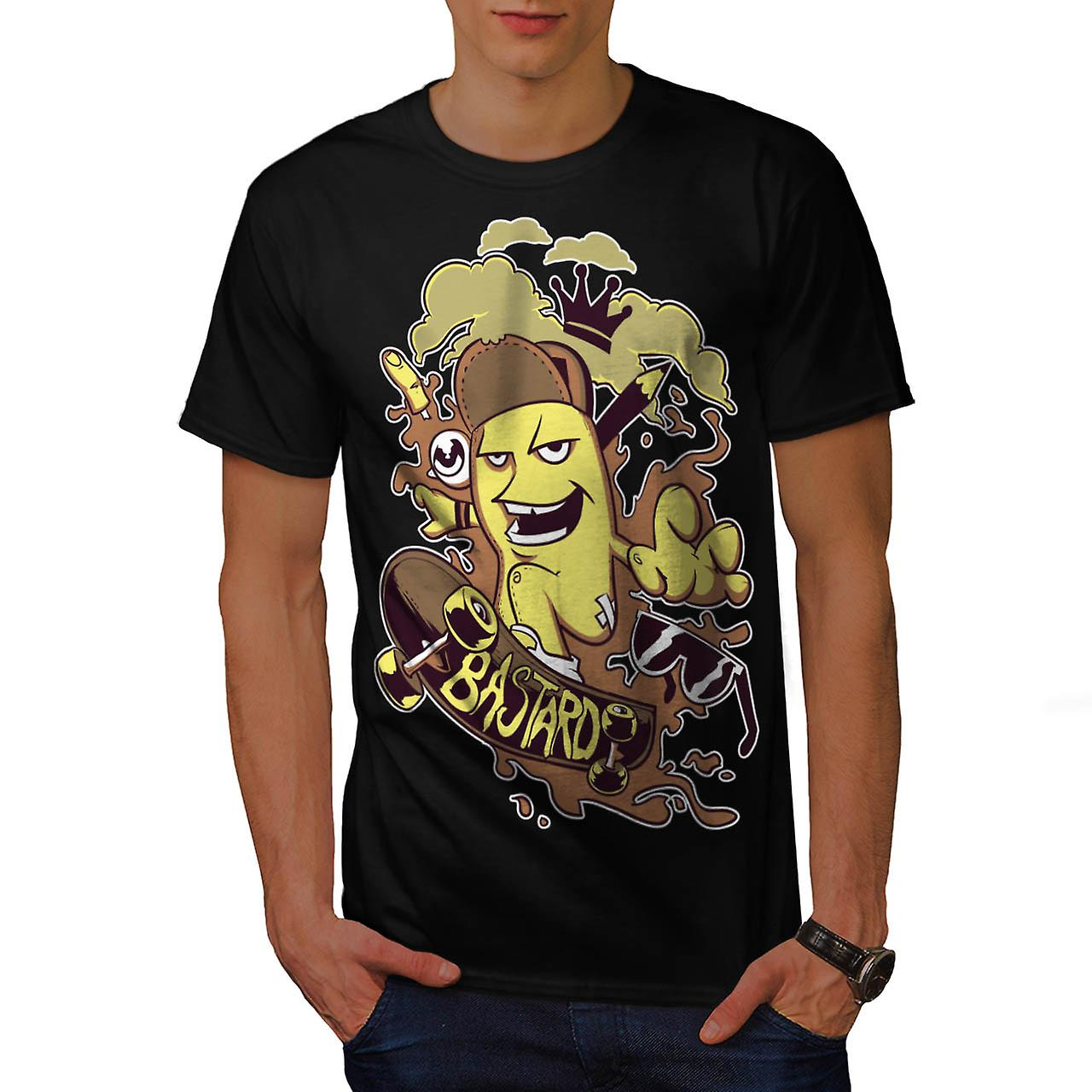 Crown bastardo pattini Skateboard uomo t-shirt nera | Wellcoda