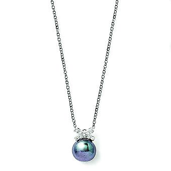 Sterling Silver CZ Freshwater Cultured Black Pearl Necklace - 18 Inch