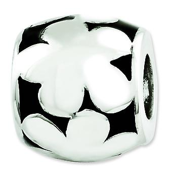 Sterling Silver Reflections Black Enameled Flowers Bead Charm