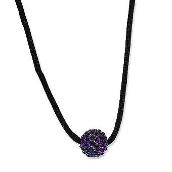 Black-plated Purple Crystal Fireball 16 Inch With ext Satin Cord Necklace