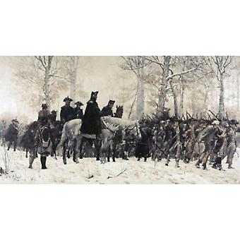 Washington a rivedere le sue truppe a Valley Forge William T Trego Poster Print