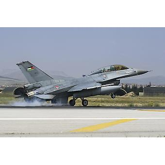 王立ヨルダン空軍の F 16BM、国際演習アナトリア イーグル 2014年-2 コンヤ トルコ ポスター印刷に出席しながら、滑走路に着陸