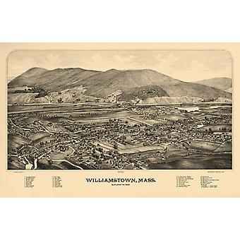Vintage Map of Williamstown Massachusetts 1889 Berkshire County Poster Print
