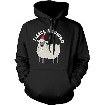 Fleece Navidad Graphic Hoodie - gullig Hooded Sweatshirt