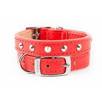 Heritage Diamond Leather Studded Collar Red 16mm X22-26cm