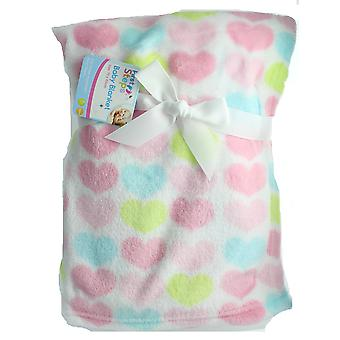 First Steps Soft Heart Patterned Printed Flannel Baby Blanket 75cm x 100cm