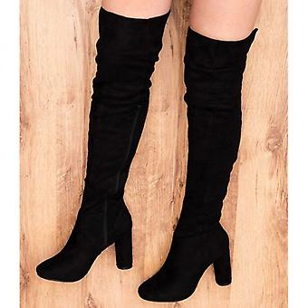 Spylovebuy LINCOLN Block Heel Over Knee Tall Boots - Black Suede Style
