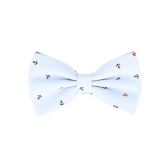 Snobbop-bound fly light blue anchor loop cotton bow tie