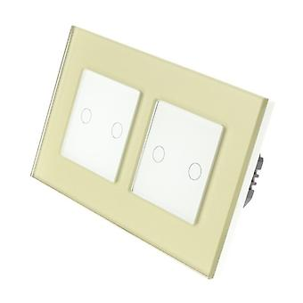 I LumoS Gold Glass Double Frame 4 Gang 1 Way Remote & Dimmer Touch LED Light Switch White Insert
