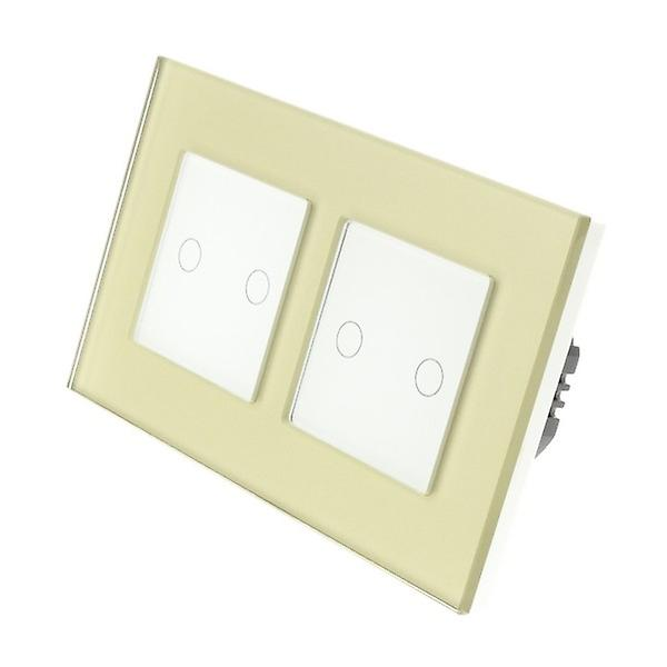 I LumoS or Glass Double Frame 4 Gang 2 Way Touch LED lumière Switch blanc Insert