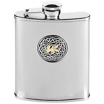 Orton West 6oz Stainless Steel Welsh Celtic Dragon Hip Flask - Silver