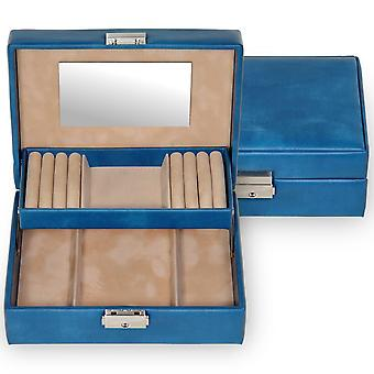 Jewelry box jewelry of blue Sacher Italian fine synthetics with velour Office
