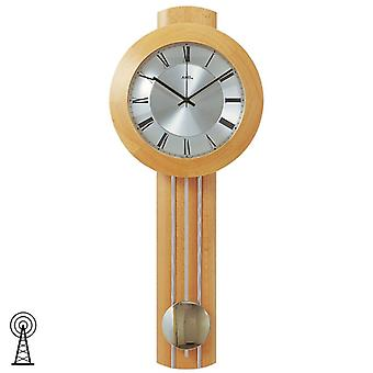 Radio controlled wall clock clocks clock with pendulum beech massive 25 x 60 x 10 cm AMS